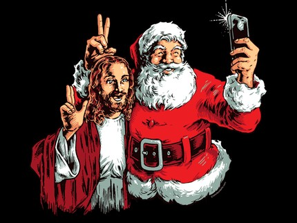 Jesus and Santa BFF Selfie