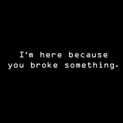 I'm Here Because You Broke Something