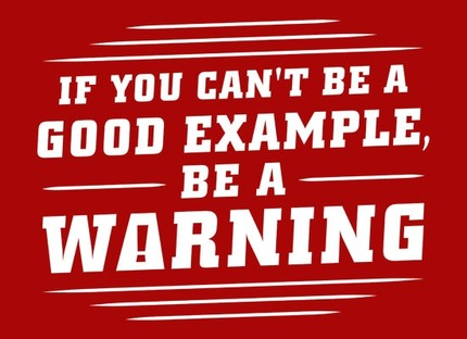 If You Can't Be a Good Example, Be a Warning