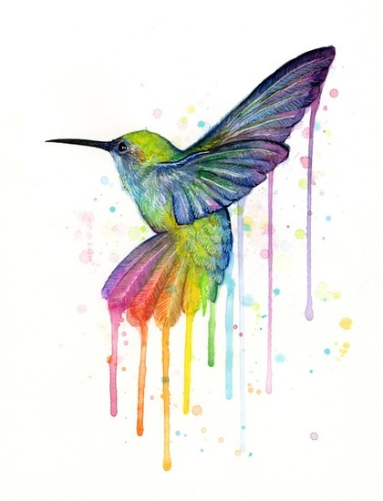 Hummingbird Rainbow Watercolor