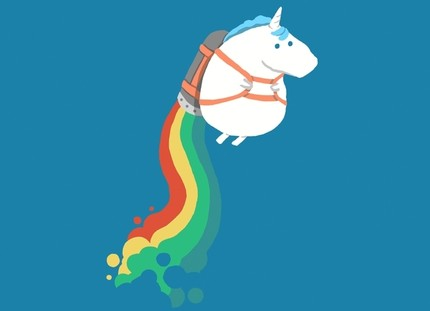 Fat Unicorn on Rainbow Jet Pack