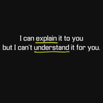 I Can Explain It To You, But I Can't Understand It For You