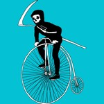Grim Reaper on Farthing Bike